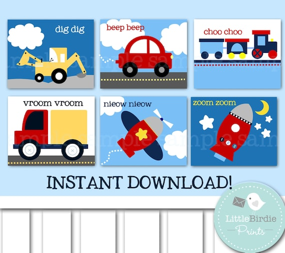 Nursery Wall Decor Transportation : Nursery wall art transportation kids room airplane car