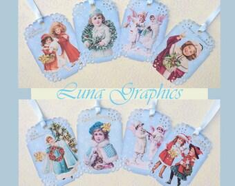 Vintage Blue Children Gift Tags set of 8 No.566