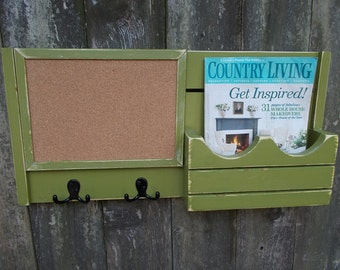 Cork Board Message Center--Mail Organizer--Magazine Holder--Wall Decor__Message Board