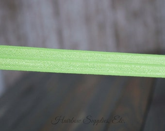 Key Lime Fold Over Elastic -Choose 1, 5 or 10 yards 5/8 inch FOE - Shiny for Headbands Hair Ties Hairbow Supplies, Etc.