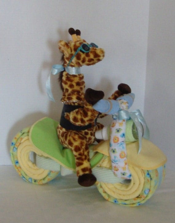 Motorcycle Bike Diaper Cake Baby Cake Giraffe Jungle