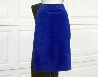 Vintage 80s Old School Royal Blue Suede Leather Skirt - Size 11 / 12 Medium