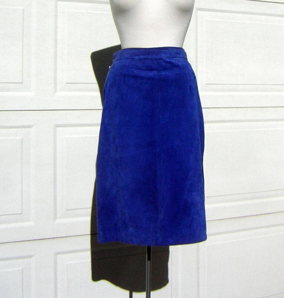 vintage 80s school royal blue suede leather skirt size