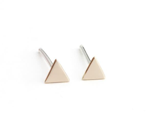 Mini Back to Basics Triangle Earrings in Bronze