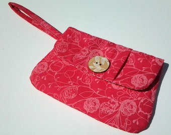 Pink Floral Print Wristlet Clutch with Geometric Lining