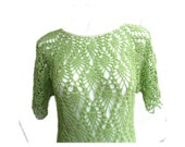 Crazy Pineapple lace light green hand crochet tunic mini dress - MyLaceSpace