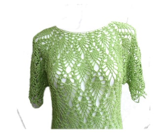 Crazy Pineapple lace light green lime hand crochet tunic mini dress