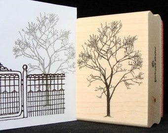 bare winter tree rubber stamp
