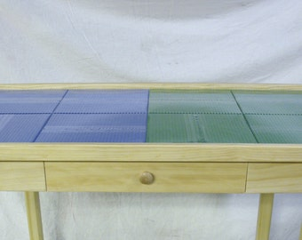 "Deluxe Extra Large lego 8 plate table with wood drawer. 22"" tall"