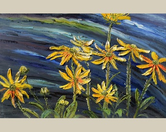 ORIGINAL Oil Painting Night Dance  23 x 36 Flowers Palette Knife Bright Colorful Yellow Green Blue Textured ART By MARCHELLA