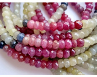 AAA Sapphire Beads/ Multi Sapphire/ Faceted Rondelle Beads/ 5mm Faceted Beads/ 100 Pieces Approx/ 14 Inch Strand