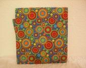 Cotton Fat Quarter - Retro circles - Red, Yellow, Green, Blue