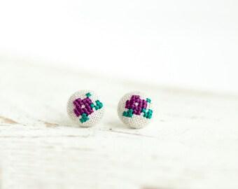 Floral stud earrings - cross stitch earrings - purple flowers - hand embroidery - textile jewelry - Summer collection by Skrynka-e004purple
