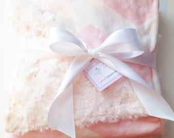 Baby Pink Chevron Minky Blanket - Chevron Blanket - Etsykids Team - Baby Blanket - Minky Blanket -  Pink Chevron Blanket