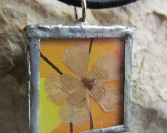 Mixed Media Art Soldered Flower Necklace Pendant Shadowbox P 72