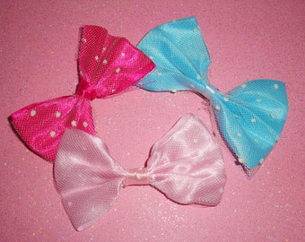 Sweet Lolita Polka Dot Tulle Satin Bow Hair Barrette Clips - choose color and quantity
