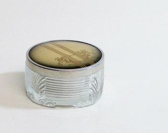 Glass Powder Jar / Vanity Jar / Vintage Art Deco /  Celluloid Over Metal Lid