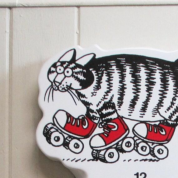 Kliban Cat Wall Clock Roller Skating Cat Vintage