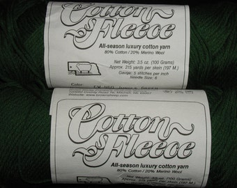 Cotton Fleece Yarn by Brown Sheep Company Jungle Green Color CW460  80 Percent Pima Cotton 20 Percent Wool