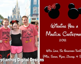 SALE: Disney, Mickey, Minnie Mouse Christmas, Holiday, New Year Photo Card - ONE PHOTO - You Print