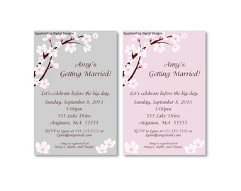 Cherry Blossom Bridal Shower Invitation or Save the Date - Customizable - You Print