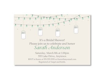 Mason Jar Rustic Chic Bridal Shower Invitation - You Print