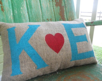 DOUBLE SIDED Personalized Love Initials and Date Burlap Throw Accent Pillow Custom Colors Available Wedding Anniversary Gift Home Decor