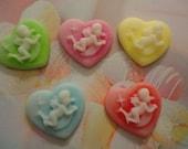 SALE sale cupid angel heart cameos  22 mm   5 pcs---USA seller