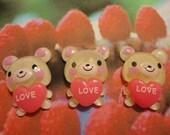 Kawaii bear with big heart cabochons  3 pcs---USA seller