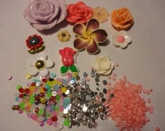 Kawaii decoden deco diy cabochon starter kit kawaii rose flower charms   SS---USA seller