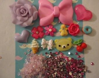 Kawaii cabochon decoden phone deco diy big pink bow charm kit    Y---USA seller