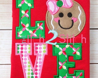 Gingerbread Love Applique Design For Machine Embroidery  INSTANT DOWNLOAD now available