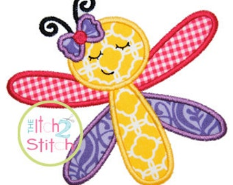 Sleepy Dragonfly Applique Design For Machine Embroidery INSTANT DOWNLOAD now available