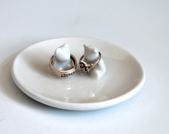 White ring dish, Ring Dish for couples, Teddy Bear Ring Pillow, Unique Jewelry Dish Weddings