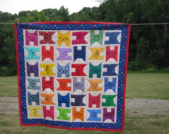 Bright Kitty Crib Quilt in Primary Colors
