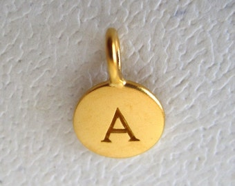 24 K Gold Plated Alphabet Letter A  Initial Charm