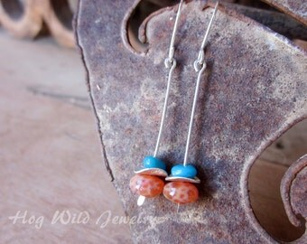 Sleeping Beauty Turquoise Orange Crackle Agate Dangle Sterling Silver Earrings