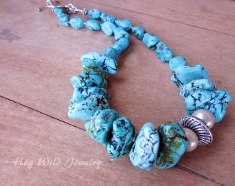 Huge Chunky Turquoise Nugget Necklace, Women's Turquoise Necklace, Double D Ranch Style Jewelry, Southwest Style Necklaces