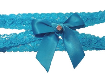 Turquoise Double Band Stretch Lace Wedding Garter with Sparkling Crystal