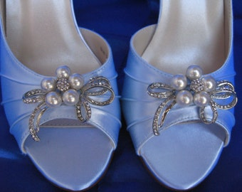 Wedding Shoes Baby Blue Pearls and Crystals Bow Design -100 Additional Colors To Pick From