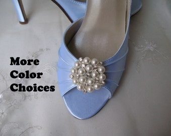 Wedding Shoes Blue Bridal Shoes Pearl and Crystal Cluster -100 Additional Colors To Pick From