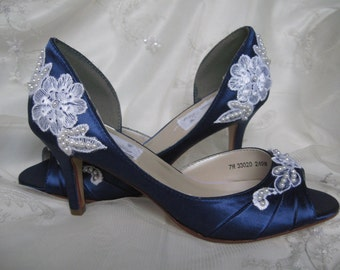 Navy Wedding Shoes Lace Shoes Lace and Pearls Navy Blue Bridal Shoes - Over 100 Colors And Heel Heights To Pick From