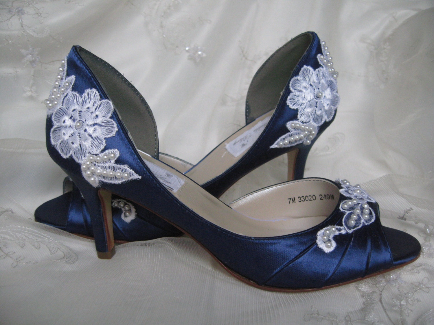 Wedding Shoes With Lace And Pearls Navy Blue Over By ABiddaBling