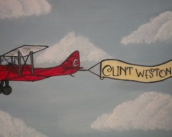 vintage air plane with personalized banner hand painted on canvas
