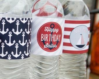 Nautical Water Bottle Labels - Printable