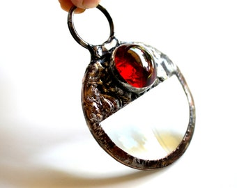 Glass Magnifier, Pop Culture Jewelry, Long Necklace, Red Glass, Real Glass Magnifier, Steampunk Jewelry, Magnifier Necklace  (1893)