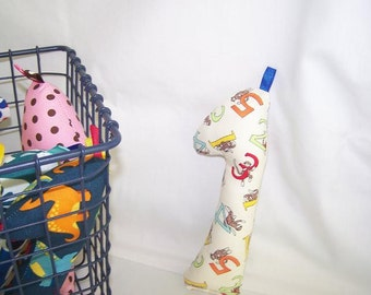 Baby Infant New Born Rattle Teething Toy Giraffe -- Sock Monkey Letters -- FREE SHIPPING