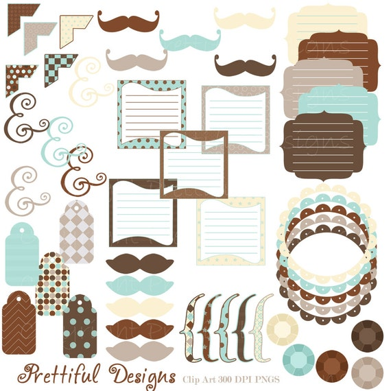 Clip Art Digital Frame Mustaches Tag Brackets Journal Spots Ampersand Commercial Use Charlie (738)