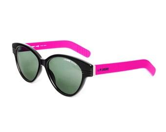 L.A. GEAR Black / Pink Vintage Sunglasses - LA Gear Moves 2 - 1980s Hipster / Rockabilly style
