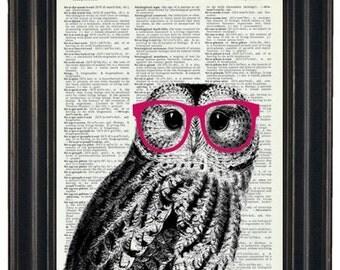 Owl Print Owl with Glasses Owl Art Print Owl Decor Owl Head Dictionary Book Page Print HHP Original Owl with Pink Glasses